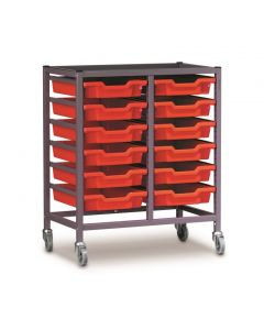 Gratnells 2025Q Double Trolley Set with 12 Shallow Trays [1548]