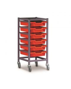 Gratnells 1025S Single Trolley Set with 6 Shallow Trays [1551]