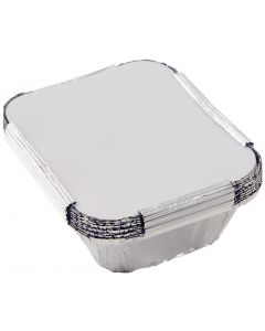 Foil Containers with Lids 24 x 24 x 3.5cm Pack of 200 [97885]