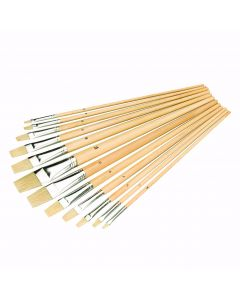 Artists Paint Brush Set Flat Tipped 12 Piece [4542]