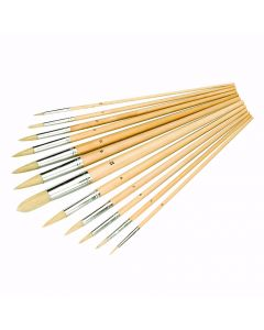 Artists Paint Brush Set Pointed Tipped 12 Piece [4543]
