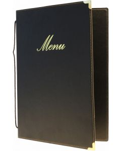 Classic A5 Menu Holder Black 4 Pages [778305]